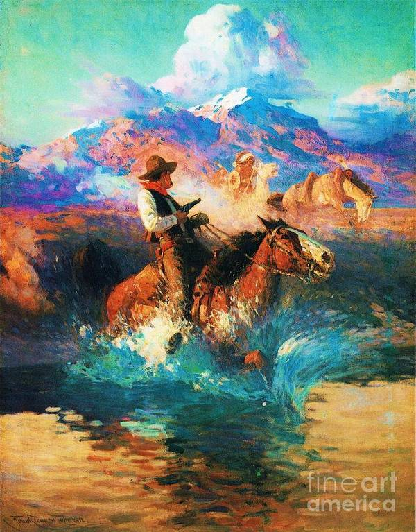 Pd Art Print featuring the painting The Wild West by Pg Reproductions