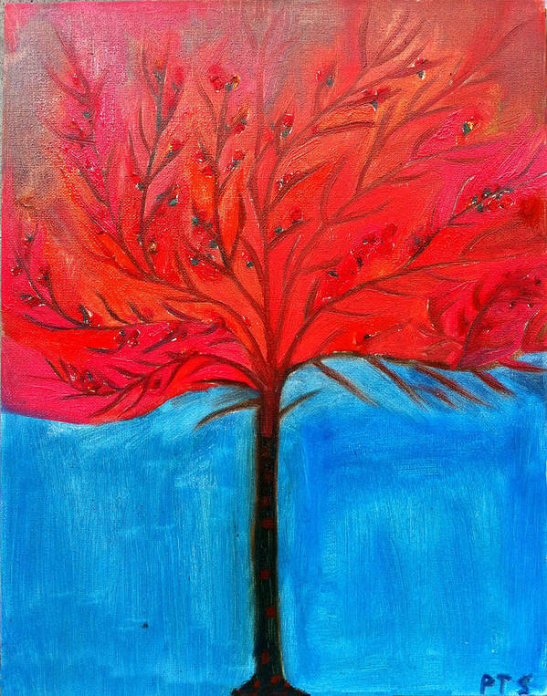 Tree Art Print featuring the painting Transition To Spring by Prachi Shah
