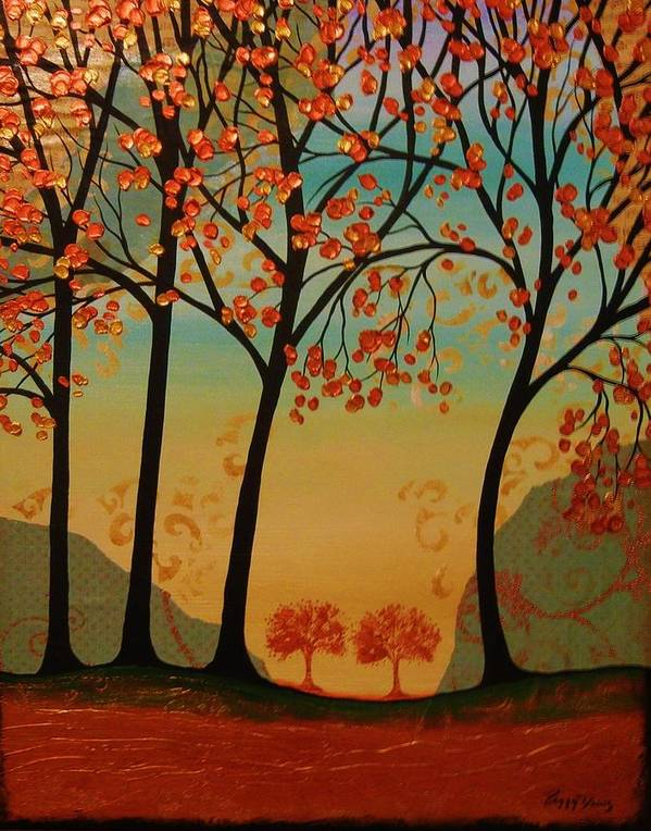 Tree Landscape Art Print featuring the painting Two Small Trees by Peggy Davis