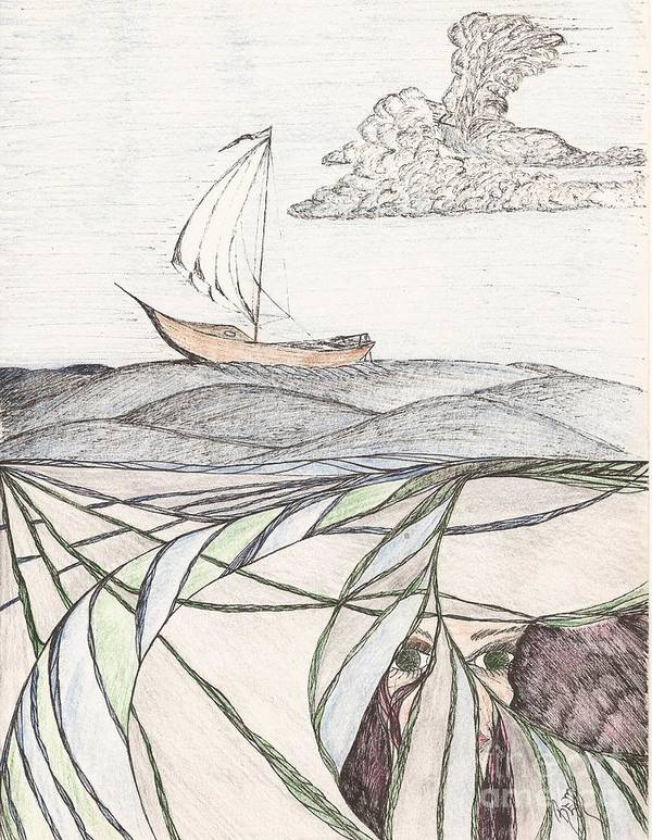 Sea Print featuring the drawing Where The Deep Currents Run... - Sketch by Robert Meszaros