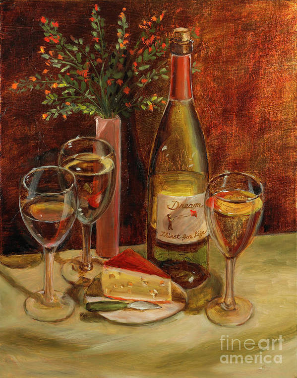 Wine Art Print featuring the painting White Wine-dreams by Vic Mastis