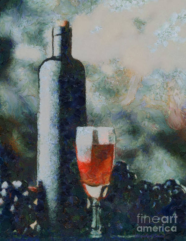 Oil Painting Wine Wine Bottles Grapes Wine Glass Still Life Oil Painting Grapes Food Drink Bottles Wine Goblet Bowl Grapes Wine Paintings Art Print featuring the painting Wine Bottle And Glass by Elizabeth Coats