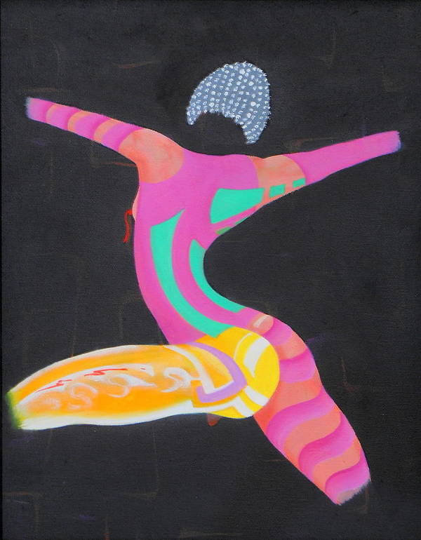 Woman Female Physical Colorful Action Movement Dancing Magenta Leg Legs Yellow Art Print featuring the painting Woman In The Ring by David Mintz