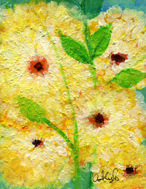 Flowers Art Print featuring the painting Yellow Flowers Laugh In Joy by Ashleigh Dyan Bayer
