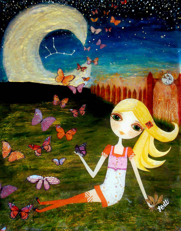 Zodiac Art Print featuring the painting Zodiac Virgo by Laura Bell