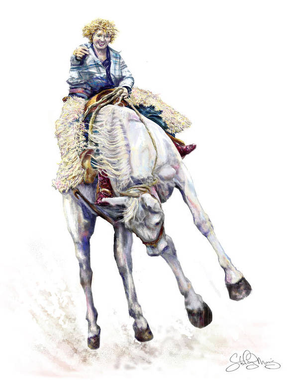 Cowgirl Art Print featuring the painting Ruthies Big Easy by Shirley Morris