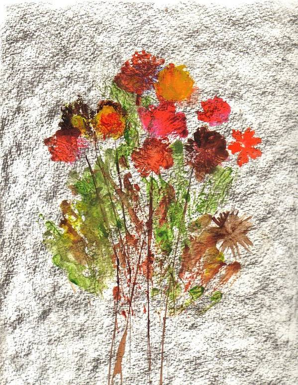 Abstract Flowers Art Print featuring the painting Abstract Flowers by Hema Rana