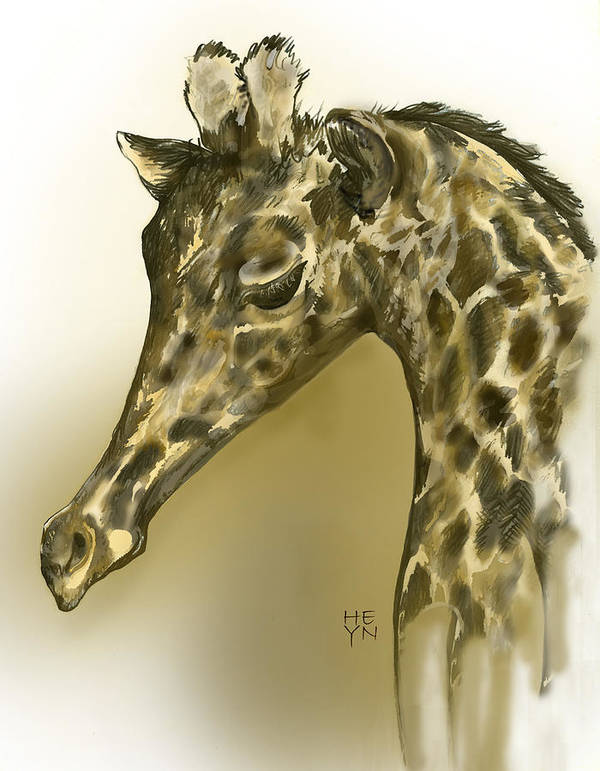 Graphic Art Print featuring the mixed media Giraffe Contemplation by Shirley Heyn