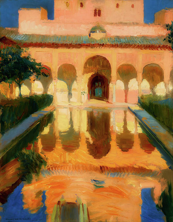 Painting Art Print featuring the painting Hall Of The Ambassadors - Alhambra Granada by Mountain Dreams