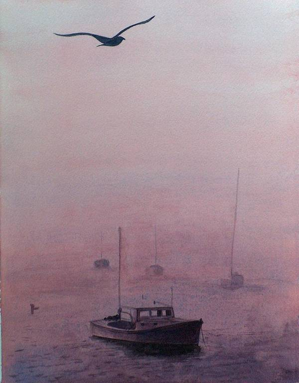 Seascape Art Print featuring the painting Harbor Fog by Sylvia Stone