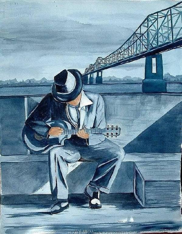 Blues Art Print featuring the painting Helena Blues by Diane Ziemski