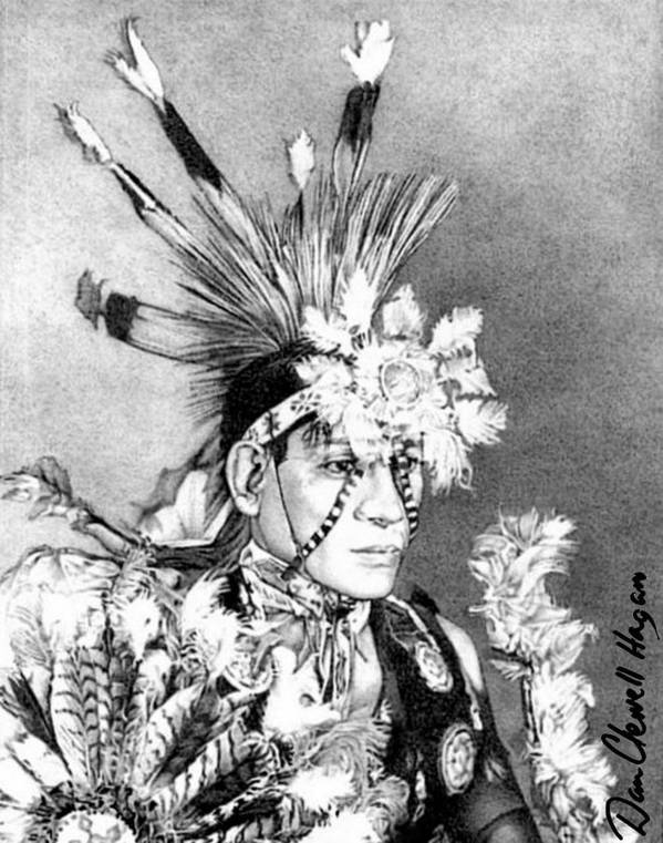 American Indian Art Print featuring the drawing Kiowa Indian by Dan Clewell