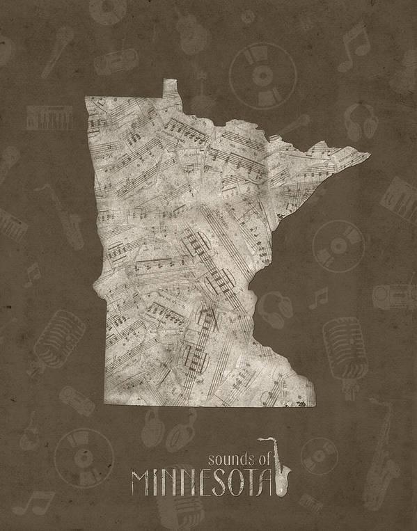 Minnesota Art Print featuring the digital art Minnesota Map Music Notes 2 by Bekim M
