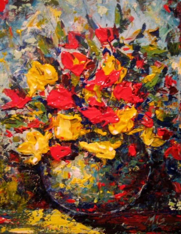 Flower Art Print featuring the painting Still Life by Mirjana Gotovac