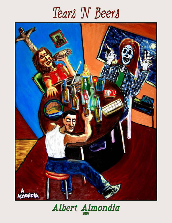 Day Of The Dead Art Print featuring the painting Tears 'n Beers by Albert Almondia