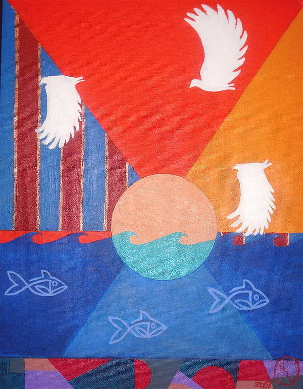 Maliksart Art Print featuring the painting The Fish And The Fowl by Malik Seneferu