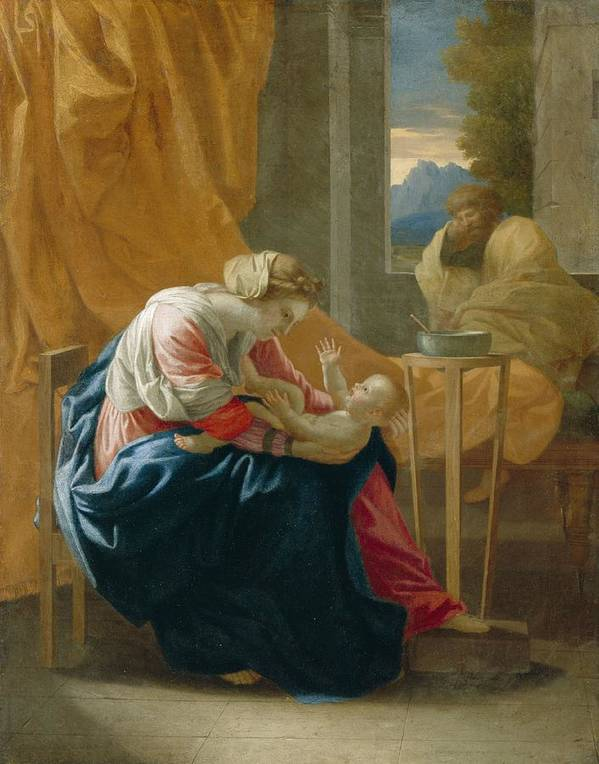 The Art Print featuring the painting The Holy Family by Nicolas Poussin
