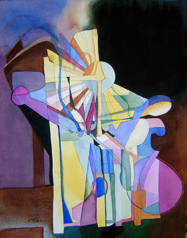 Abstract Art Print featuring the painting Tilting At Windmills by Teresa Boston