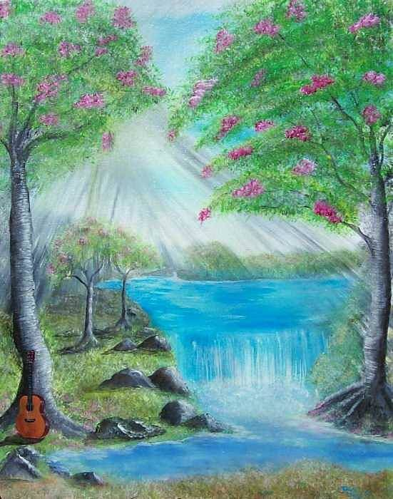 Guitar Art Print featuring the painting Waterfall by Tony Rodriguez