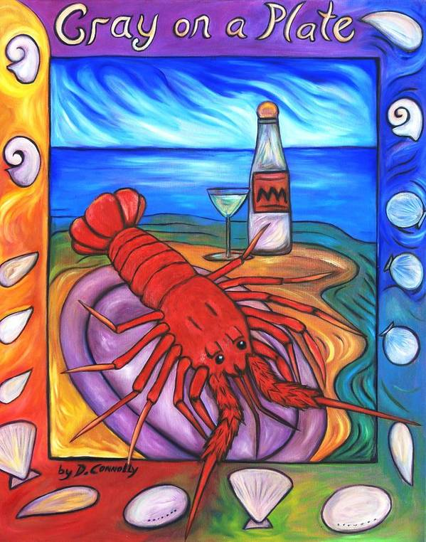 Diconnollyart Art Print featuring the painting Cray On A Plate by Dianne Connolly