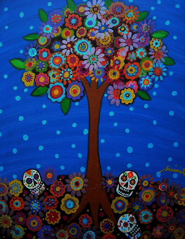 Day Of The Dead Art Print featuring the painting Day Of The Dead by Pristine Cartera Turkus
