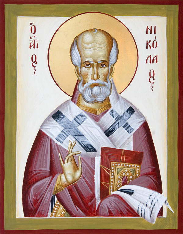 St Nicholas Of Myra Art Print featuring the painting St Nicholas Of Myra by Julia Bridget Hayes