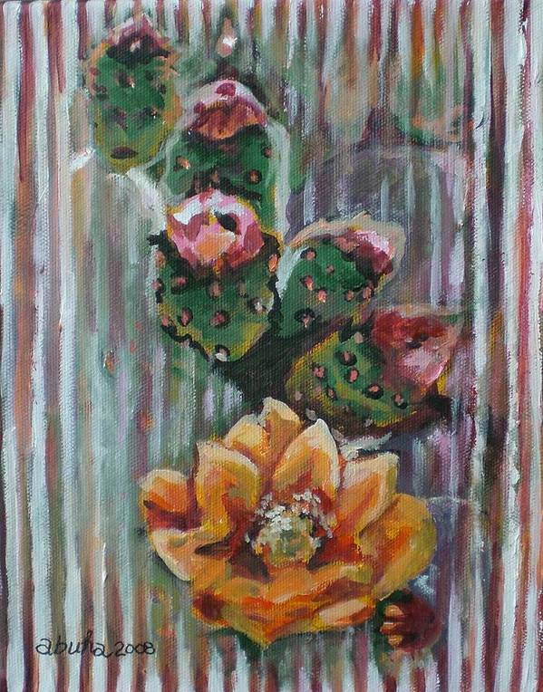 Cactus Art Print featuring the painting Yellow Cactus Blossom by Aleksandra Buha