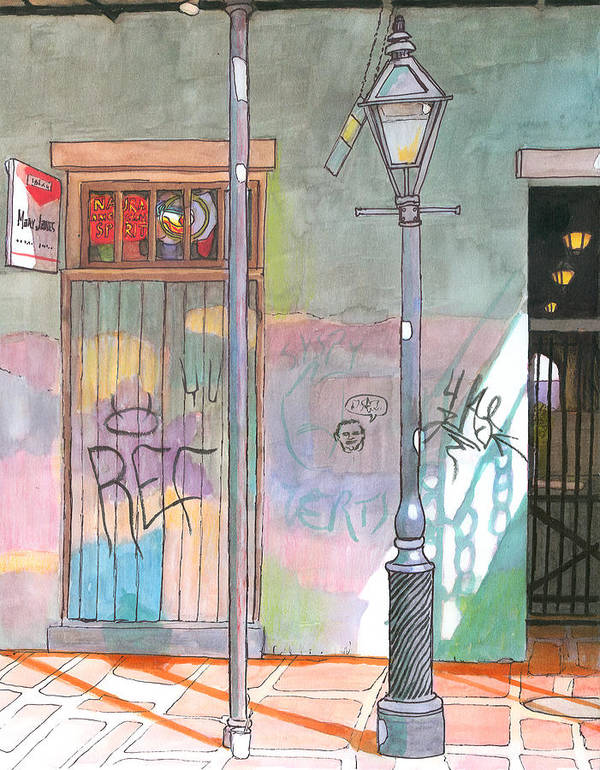 New Orleans Art Print featuring the painting 30 French Quarter Graffiti by John Boles