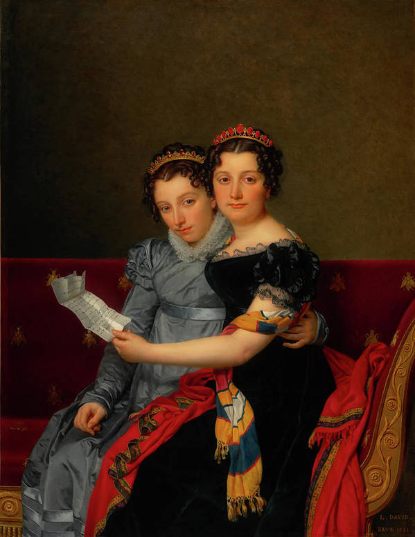 Painting Art Print featuring the painting The Sisters Zenaide And Charlotte Bonaparte by Mountain Dreams