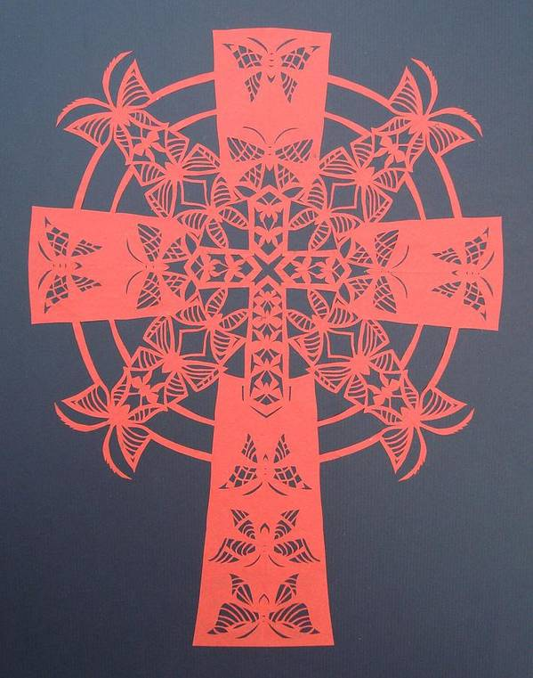 Beliefs Art Print featuring the mixed media Red Butterfly-cross by Tong Steinle