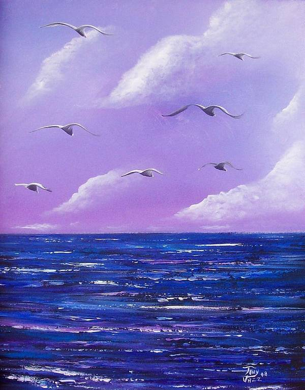 Seascape Art Print featuring the painting 7 Seabirds by Tony Rodriguez