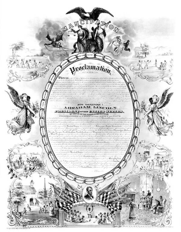 1868 Art Print featuring the photograph Emancipation Proclamation by Granger