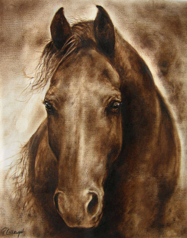 Horse Art Print featuring the painting A Misty Touch Of A Horse So Gentle by Paula Collewijn - The Art of Horses