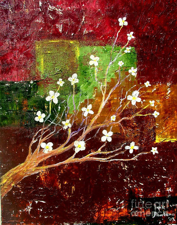 Abstract Art Print featuring the painting Abstract Blossom by Inna Montano