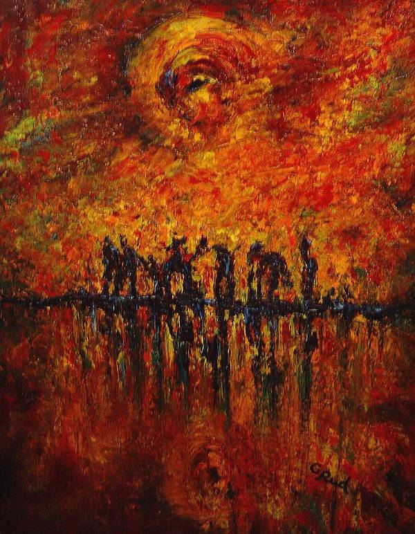 Landscape Art Print featuring the painting All Of Them by David Grudniski