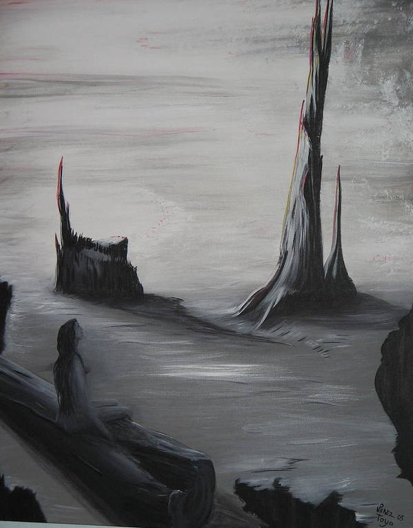 Neblina Art Print featuring the painting America Belleza Entre La Muerte by Toyo Perez
