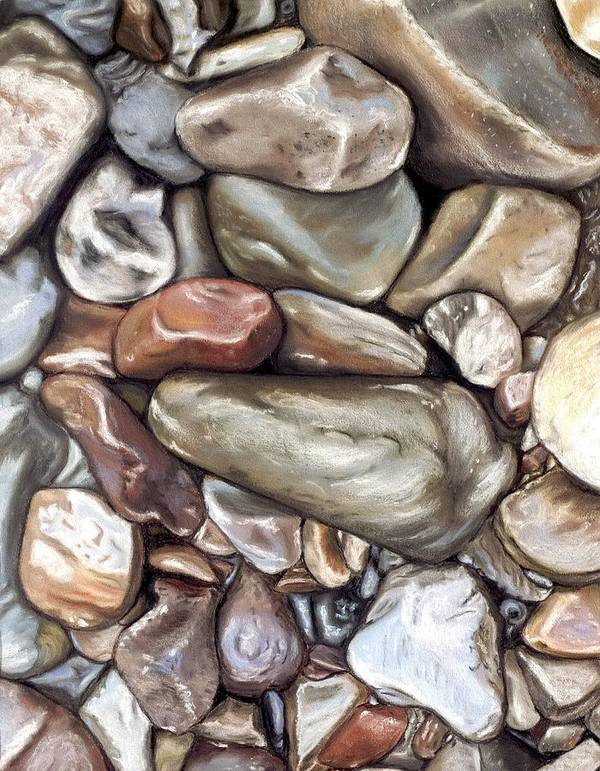 Rocks Art Print featuring the painting American River Rocks by Brenda Williams