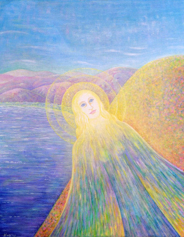 Symbolic Art Print featuring the painting Angel by Hiske Tas Bain