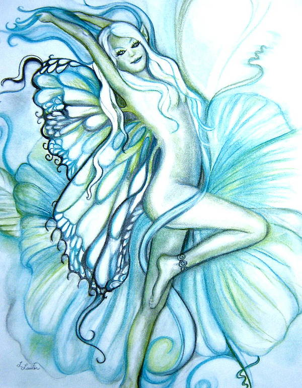 Dancing Fairy Art Print featuring the drawing Aquafairie by L Lauter