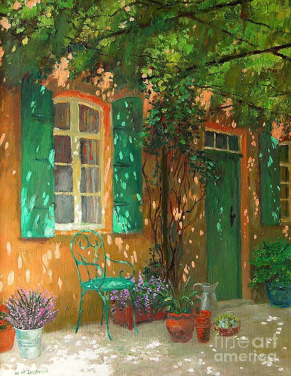 Vine; Vines; Sunshine; Dappled; Door; Window; Garden; Chair; Shutters; Summer; Pots; Lavender; Sunlight; Shadows; Trellis; Sun; Pergola; Treille; Pot; Pots; Flower; Flowers; Plant; Plants; Shutter; Green; Green Door Art Print featuring the painting Arbour by William Ireland