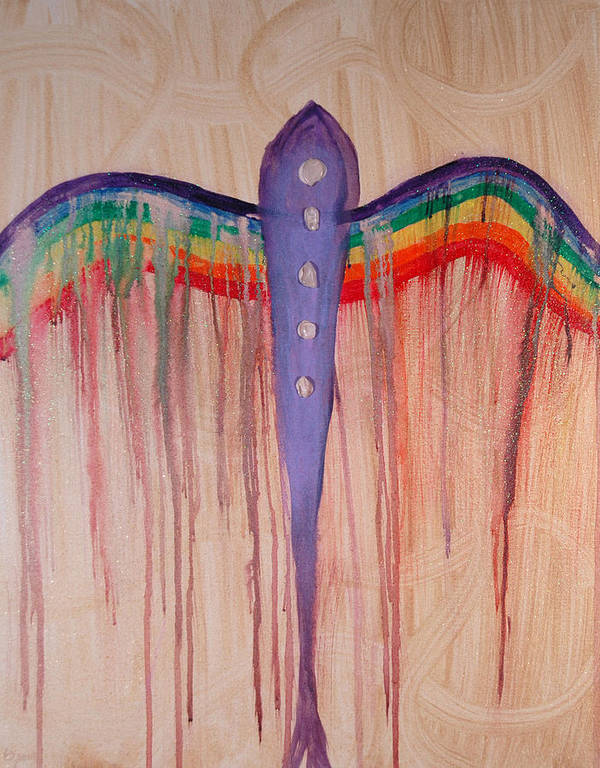 Angel Art Print featuring the painting Archangel Shamuel by Emerald GreenForest