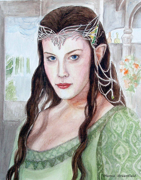 Portraits Art Print featuring the painting Arwen by Mamie Greenfield