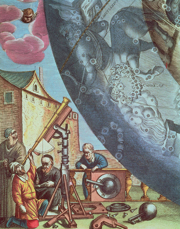 Astronomers Print featuring the painting Astronomers Looking Through A Telescope by Andreas Cellarius