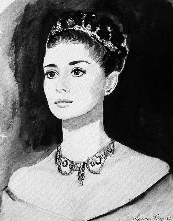 Audrey Hepburn Art Print featuring the painting Audrey by Laura Rispoli