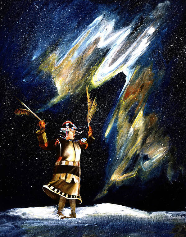 Alaska Art Print featuring the painting Aurora Dancer by Dianne Roberson