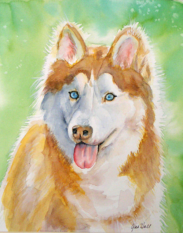 Canine Art Print featuring the painting Baby Blue by Gina Hall