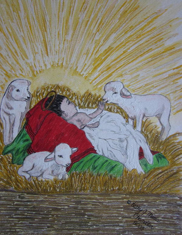 Saviour Art Print featuring the painting Baby Jesus At Birth by Kathy Marrs Chandler