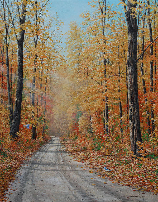 Autumn Art Print featuring the painting Backroads by Jake Vandenbrink