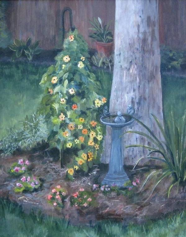 Everything In Bloom In Summertime Art Print featuring the painting Backyard by Paula Pagliughi