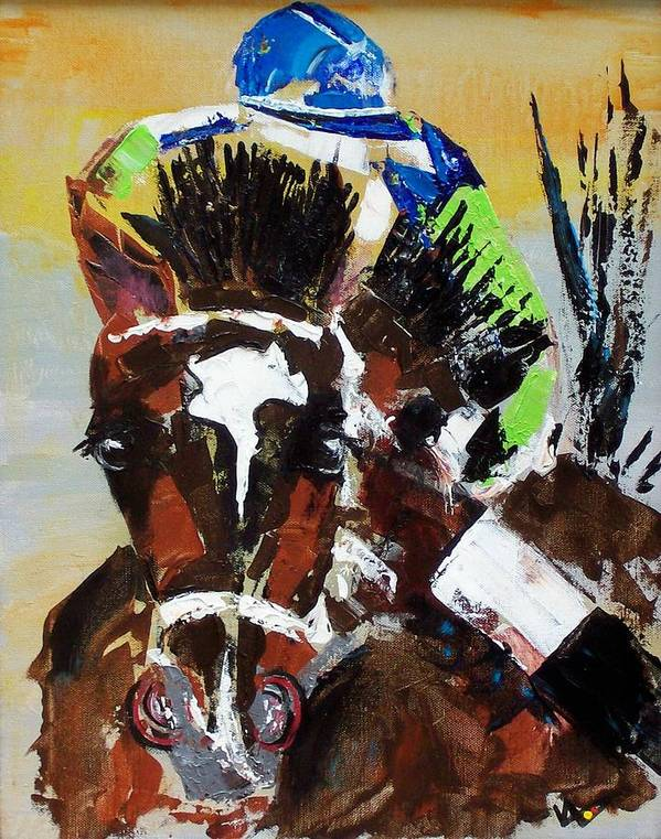 Barbaro Art Print featuring the painting Barbaro Runs by Valerie Wolf